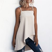 Women shirts tops Summer ladies shirt Solid color elegant Retro Strap Cross Irregular Vest Top blouse Shirt womens blouses 210508