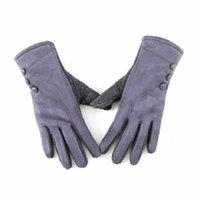 قفازات أصابع الشتاء المرأة الجلد المدبوغ شاشة تعمل باللمس إبقاء دافئ أزياء زر الديكور ركوب windproof