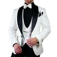 Men's Suits & Blazers Handsome Ivory Paisley Toast Business Evening Dress Customize Slim Fits Groom Tuxedos (Jacket+Pants+Vest+Tie) W:133