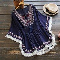 Summer Retro Boho Style Embroidery Women Shirt Top Loose Cotton Lace Hem Bat Sleeve Kimono Blusa Feminina