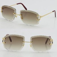 피카딜리 불규칙한 프레임리스 다이아몬드 컷 렌즈 선글라스 여성 또는 남자 Unisex Rimless Carved LT8200762 야외 운전 안경 고품질 패션 안경