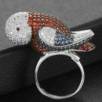 Missvikki Высококачественная роскошь Европа Мир голубя птица Кольца для благородных женщин Партия Показать пальцы Ювелирные Изделия Уникальное кольцо Полный тонкий CZ Кластер