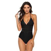 Women's Swimwear Sexy V-Neckline Swimsuit Solid Ruffle Monokini One Piece Women Summer 2021 Bikini Set Maillot De Bain Femme