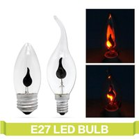 Ampuller LED Ampul E14 E27 Edison Titreşimsiz Alev 3 W Mum Işık AC220V 240 V Retro Yangın Aydınlatma Vintage Dekor Enerji Tasarrufu Lambası