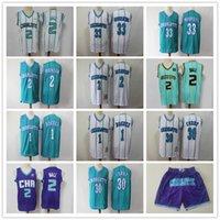 "Hommes Charlotte ""Hornets"" Jersey 33 Alonzo Deuling 2 Larry Johnson 1 Bogues 30 Dell Curry 2 Lamelo Ball Basketball Shorts de Basketball Jerseys"