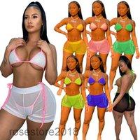 7 Цветов Сплошной Цвет Женщины 2021 Купальник Женская Горячая Сексуальная Сексуальная Сетка Beach Bikini Костюм Дизайнер Подвеска Бюстгальтер Шорты Три Части Устанавливает CY907