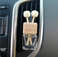 Wooden 8ML Car Vent Clips Perfume Bottle Rearview Hanging Ornament Cube Empty Bottles Air Fragrance Essential Oils Diffuser