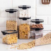 Storage Bottles & Jars 1800ML Transparent Sealed Jar Nuts Coffee Bean Snack Household Grain Box Plastic Kitchen