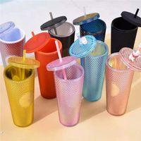 700ml Double Layer PVC Tumbler Wiederverwendbare Drinkwarenbecher mit Deckel Stroh Tassen Großhandel Meereslieferung