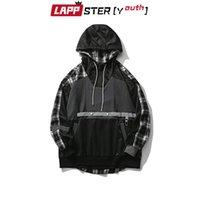 Sudaderas con capucha para hombres Lampster-Youth Men Patchwork Negro Plaid Harajuku 2021 Hombres causal Streetwear Vintage Hombre con capucha Suéter de moda