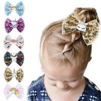 Niño chica pelo clip de arco grande para el niño Sequin Barrette Arco iris Unicornio Accesorio de la horquilla Boutique 3 pulgadas