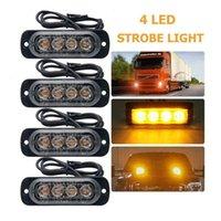 Emergency Strobe Lights Amber Recovery Car 4 Chips LED Lighting Bar Orange Grill Breakdown Flashing 12 24V Working Light
