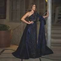 2020 navy blue appliques Beaded Evening Dresses One Shoulder Ruffles Long Sleeve Prom Dress Formal Party Occasion Gowns
