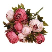 Dekorative Blumen Kränze Gefälschte Pfingstrose Blume mit 13 Köpfen Künstliche Pflanze Für Hochzeit Wohnaccessoires Zimmer Dekor