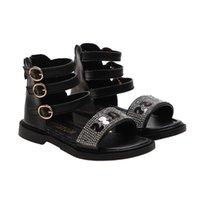 Enfants Gladiator Sandales Classiques Sequin Lettre Designer Summer Beach Chaussures Filles Taille Appartement 26-36 Noir Blanc Diapositives