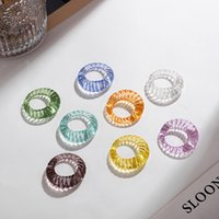 Korean Colorful Transparent Geometric Croissant Finger Ring For Women Fashion Irregular Round Resin Acrylic Party Jewelry