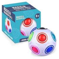 Rainbow الكرة الإبداعية ماجيك مكعب لعبة الأطفال سرعة كرة القدم كروية الألغاز الإصبع لعب ضغط الكرة التوحد الاحتياجات الخاصة H4172S1