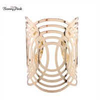 Banny Pink Chunky Alloy Hollow Geo Channel Setting Bangle Bracelet for Women Big Metal Bangle Fashion Hand Jewelry Pulsears Q0719