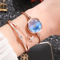 Watch Bands Brand Women Bracelet Gold Casual Small Golden Geometric Glass Surface Colorful Wristwatch Ladies