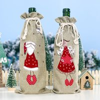 Decorations Christmas for Home Burlap Embroidery Angel Old Man Wine Bottle Cover Set Christmas Gift Bag Santa Sack Xmas Decors