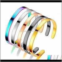 Einfache Edelstahlarmband Gold Schwarz Offener Einstellbarer Armband Manschette Armband Für Frauen Herren Modeschmuck Will und Sandy Golpl Fozyh