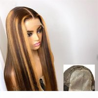 Highlight Lace Front Human Hair Wigs With Baby Hair 5*5 PU Silk Base Wig 8-26 Inches Brazilian Remy Bleached Knots