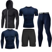 FactoryNo0Lfitness Compressão Homens Ginásio Tracksuit Roupas Esportes Conjunto Jogando Jogging Sportwear Sleeves Camisas Esporte