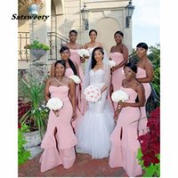 Simple Blush Pink Mermaid Bridesmaid Dresses Long Wedding Party Gowns Ruffles Elastic Satin Evening Gown