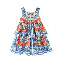 2021 new children's skirt spring and summer girl's court printed suspender baby dress wear