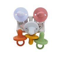 Chenkai 10 adet Nipeller Silikon Bebek Diş Kaşıyıcı Gıda Sınıfı DIY Yenidoğan Bebek Bebek Emzik Kukla Hemşirelik Diş Çıkarma Takı Oyuncak Craft 210407