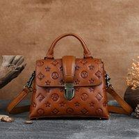 Lujo Pequeño Pequeño Bolso Plaza Genuine Cuero Femenino Hands First Layer Handbags 2021 Trend Retro Style Bolsas de hombro Diseñador