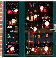 귀여운 산타 클로스 창 유리 스티커 캐패스 휴일 장식 크리스마스 셔터 스티커 장면 배열 EWF8559