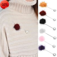 Fashion fashion jewelry sweet Korean mink hair Pearl Brooch collar pin clothing