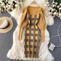 Two Piece Dress Conjunto feminino duas peças xadrez com alças, mini vestido spaghetti e casaco manga comprida 0HJR