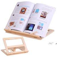 NewAdadjustable portátil de madera soporte soporte de madera reservas de madera portátil tableta estudio cocinero receta libros libros stands escritorio cajón organizadores EWF6662