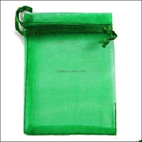 Pouches, Jewelry Packaging & Display Jewelrys ! 100Pcs Green Dstring Organza 7X9Cm Wedding Party Christmas Favor Gift Bags Drop Delivery 202