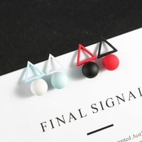 Korean Version Of Asymmetric Geometric Pearl Triangle Earrings Female Creative Fashion Wild Temperament Ear Jewelry Stud