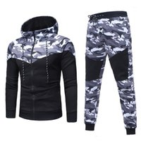 2021 Men &#039 ;S Sets Autumn Winter Camouflage Top Pants Sets Sports Fashion Suit Tracksuit Tracks Casual New Men Hooded Blouse Pants1