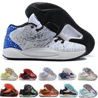 Erkekler için Tasarımcı Çizmeler Elites Durant KD 14 14 S Erkek Basketbol Ayakkabı Elite Gri Pembe Çok Renkli Floresan Yeşil KD14 XVI Eğitmenler Yakınlaştırır Spor Sneakers US 7-12