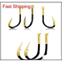Hooks Sports & Outdoors Gear Black Gold Double Groove Barbed Outdoor Fishing Supplies Large Hook Fish Suitable For Squid Drop Delivery 2021
