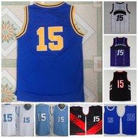Vintage Basketball Jersey North Carolina Tar Heels College 15 Jersey Blue Blanc Violet cousu
