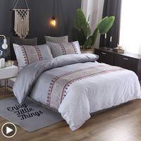 Conjuntos de ropa de cama SIBER Set de lujo Bohemio Floral Impreso Edredón Cubierta de cama Ropa de cama Edredones Cubiertas Reina Individual Ropa de tamaño King