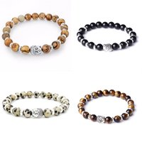 Mens Turkey Turkish Jewelry Natural Stone Bracelet femme Silver Color Lava Buddha Bead Chakra Bracelets & Bangle For Women Men 1729 Q2