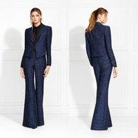 Dunkelblaue Abendkleider Applique Drei Stück Anzug Prom Kleid Sondermantel und Hosen Gelegenheit Kleider
