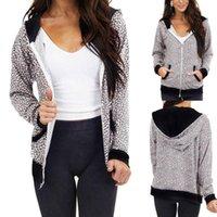 Women's Hoodies & Sweatshirts Women Fashion Leopard Print Coat Pocket Long Sleeves Zipper Hoodie Casual Home Wear Jacket Autumn