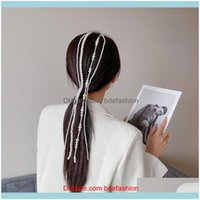 Saç Jewelryhair Klipler Barrettes Inshe Ev Taklit Pearl Uzun Püskül / Zincir Gelin Düğün Aessories Klip Kadın Parti Takı Bırak Deliv