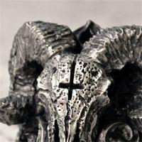 Уникальный панк готический сатанинский демон череп кольцо мужские классные байкер кольцо ювелирных изделий годовщина дня подарок нам размер 7-14 595 q2