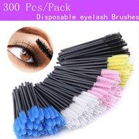 300 Pcs Pack eyelash extensions Disposable Micro lash Brushes Makeup eye lashes Mascara Applicator Wand Lip makeup tools