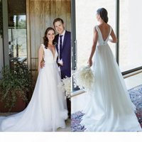 Bohemian Sexy Deep V-Neck Backless A-Line Wedding Dresses Simple Country Garden Bridal Gowns Sweep Train Customized Vestidos