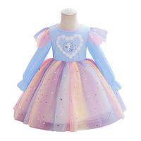 الفتاة فساتين الطفل بنات الأميرة ملابس الطفل الملابس القطن منقوشة طويلة الأكمام يونيكورن حزب 3-8y B4416